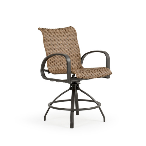 Madeira Outdoor Woven Counter Stool in Charcoal with Nutmeg Weave