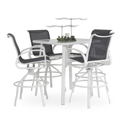 Madeira Outdoor Glass Top 5 Piece Sling Bar Set with Stormy Grey Slings