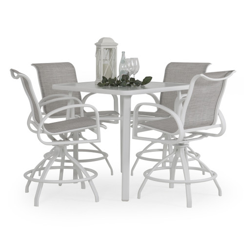 Madeira Outdoor Glass Top 5 Piece Sling Counter Set with Morning Mist Sling