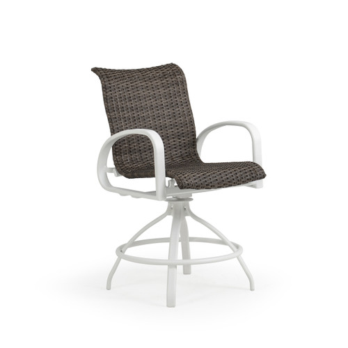 Madeira Outdoor Woven Counter Stool in Textured White with Peppercorn Weave