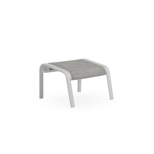 Madeira Ottoman in Textured White with Morning Mist Sling