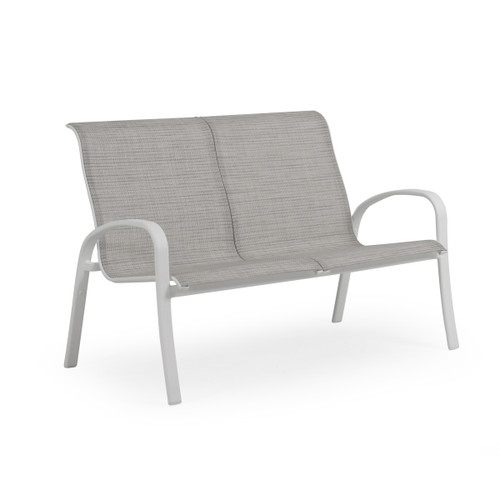 Madeira Loveseat in Textured White with Morning Mist Sling