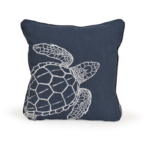 Embroidered Sea Turtle Toss Pillow