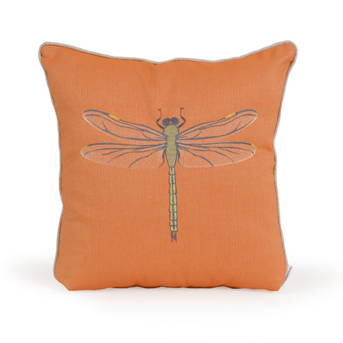 Embroidered Dragonfly Toss Pillow