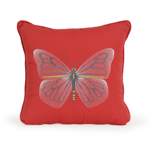 Embroidered Butterfly Toss Pillow