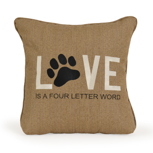 Embroidered Puppy Love Toss Pillow
