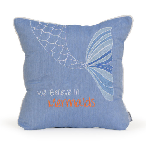 Embroidered We Believe in Mermaids Toss Pillow