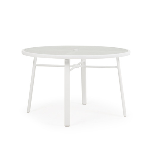 Madeira Glass Top Table in Textured White
