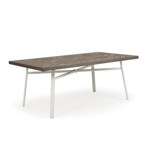Madeira Outdoor Rectangle Dining Table with PoliSol Top in Textured White