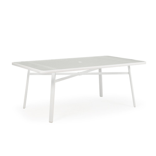 Madeira Outdoor Rectangle Glass Top Dining in Textured White