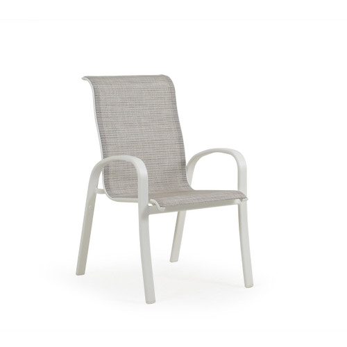 Madeira Sling Dining Chair in Textured White with Morning Mist Sling