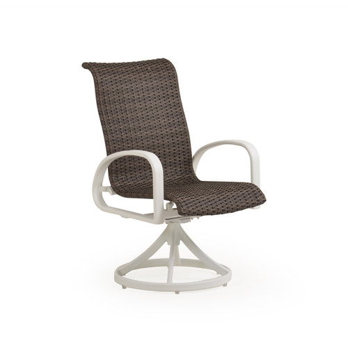 Madeira Woven Swivel Dining Chair in Textured White Finish with Peppercorn Weave