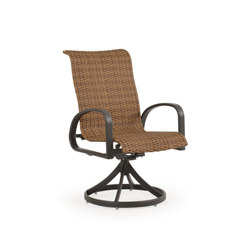 Madeira Woven Swivel Dining Chair in Charcoal Finish with Nutmeg Weave