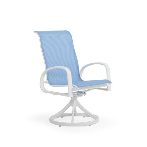 Madeira Outdoor Sling Swivel Dining Chair in Textured White with Dupione Poolside Sling