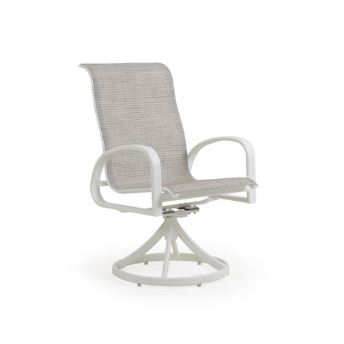 Madeira Sling Swivel Dining Chair in Textured White with Morning Mist Sling