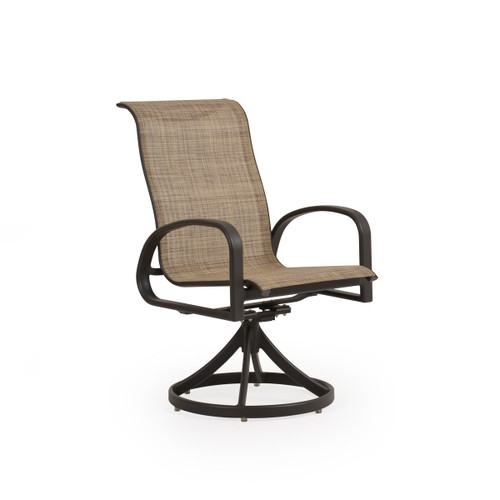 Madeira Sling Swivel Dining Chair in Charcoal Finish with Sand Dune Sling