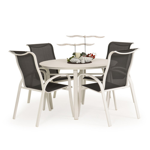 Madeira Aluminum Slat Dining Set in Textured White with Stormy Grey Sling