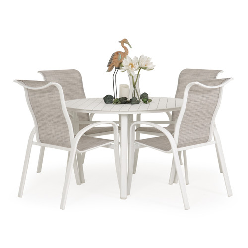 Madeira Aluminum Slat Dining Set in Textured White with Morning Mist Sling