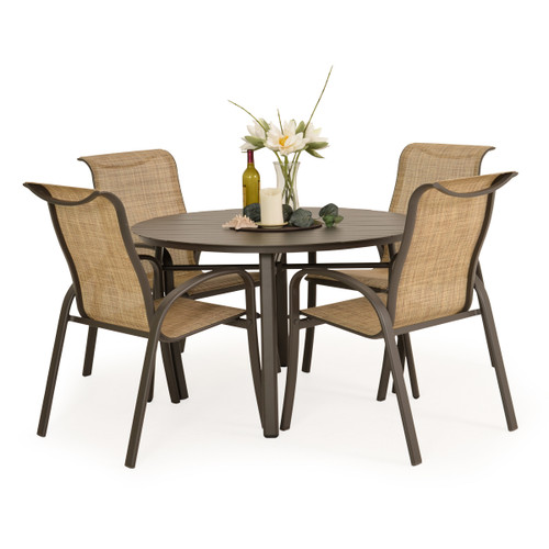 Madeira Aluminum Slat Dining Set in Charcoal with Sand Dune Sling