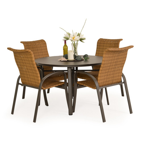 Madeira Aluminum Slat Woven Dining Set in Charcoal with Nutmeg Weave