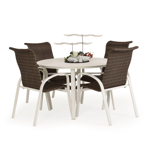 Madeira Aluminum Slat Woven Dining Set in Textured White with Peppercorn Weave
