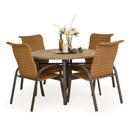 Madeira Woven PoliSoul Top Dining Set in Charcoal with Nutmeg Weave