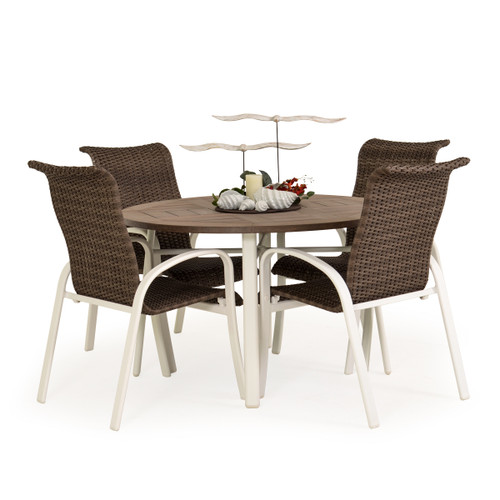 Madeira Woven PoliSoul Top Dining Set in Textured White with Peppercorn Weave
