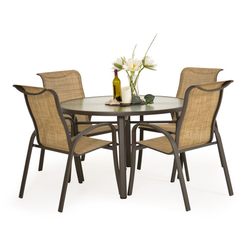 Madeira Glass Top Dining Set in Charcoal with Sand Dune Sling