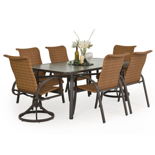 Madeira Woven Glass Top Dining Set in Charcoal with Nutmeg Weave