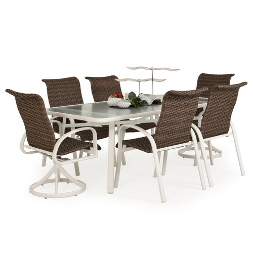 Madeira Woven Glass Top Dining Set in Textured White with Peppercorn Weave