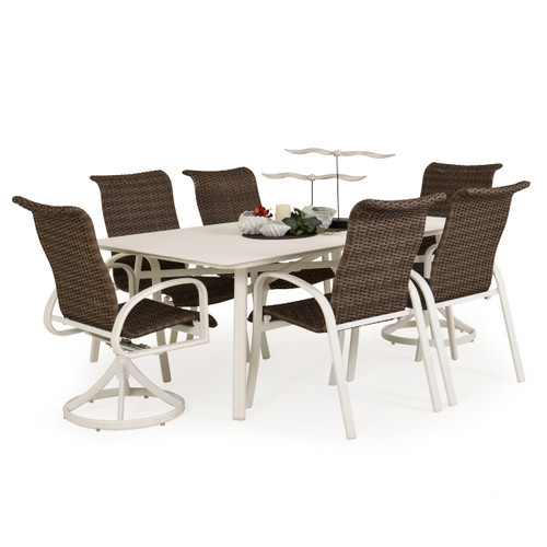 Madeira Woven Aluminum Slat Top Dining Set in Textured White with Peppercorn Weave
