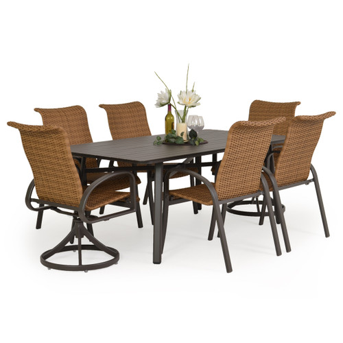 Madeira Woven Aluminum Slat Top Dining Set in Charcoal with Nutmeg Weave
