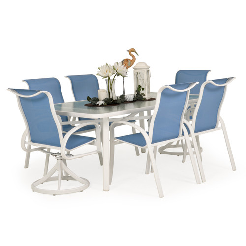 Madeira Glass Top Dining Set in Textured White with Tranquil Blue Sling