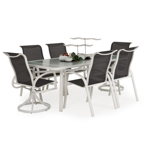 Madeira Glass Top Dining Set in Textured White with Stormy Grey Sling