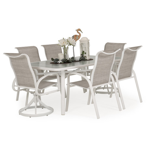 Madeira Glass Top Dining Set in Textured White with Morning Mist Sling