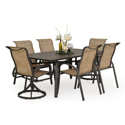 Madeira Aluminum Slat Top Dining Set in Charcoal with Sand Dune Sling