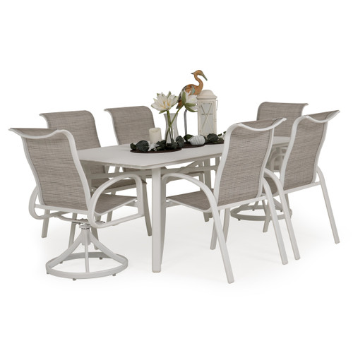 Madeira Aluminum Slat Top Dining Set in Textured White with Morning Mist Sling