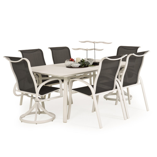 Madeira Aluminum Slat Top Dining Set in Textured White with Stormy Grey Sling
