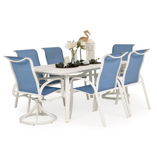 Madeira Aluminum Slat Top Dining Set in Textured White with Tranquil Blue Sling