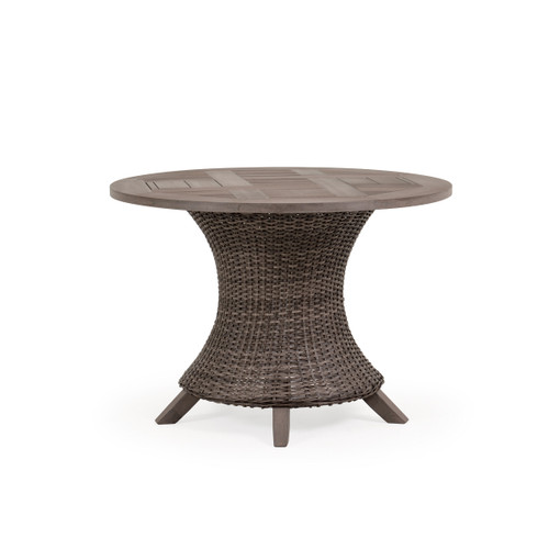 Sanibel Wicker Outdoor Dining Table in Peppercorn Finish with Vintage Walnut PoliSoul™ Top