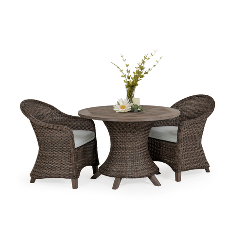 "Sanibel Wicker Outdoor 3 Piece Dining Set in Peppercorn Finish with 48"" Round Vintage Walnut PoliSoul™ Top"