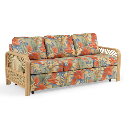Islamorada Upholstered Sofa with Rattan Arms