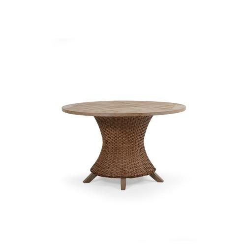 "Sanibel Outdoor Wicker 48"" Round Dining Table in Nutmeg"