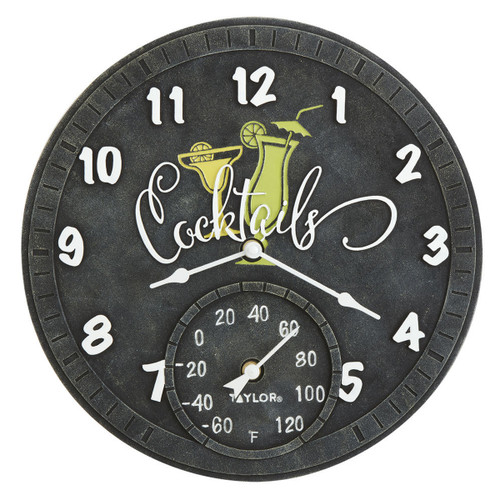 Cocktails Outdoor Clock and Thermometer