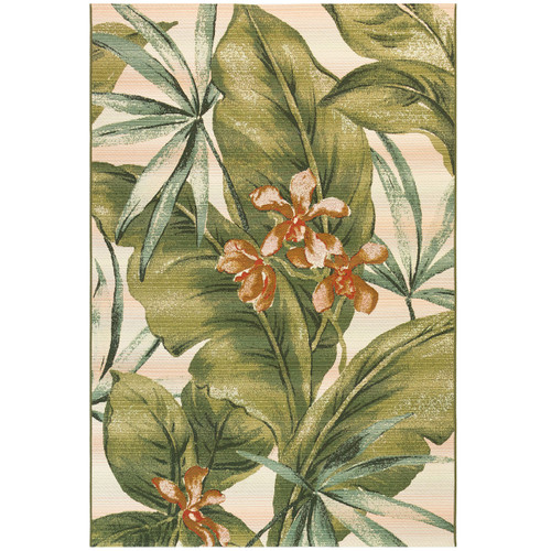 Marina Indoor/Outdoor Green Palm Leaf Rug, 94x118