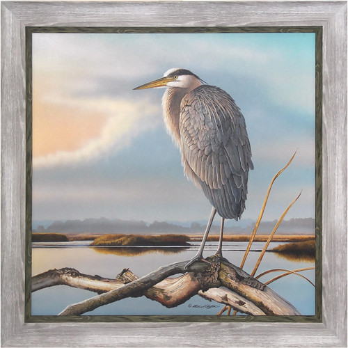 Framed Art, Marsh Watch Great Blue Heron by Richard Clifton