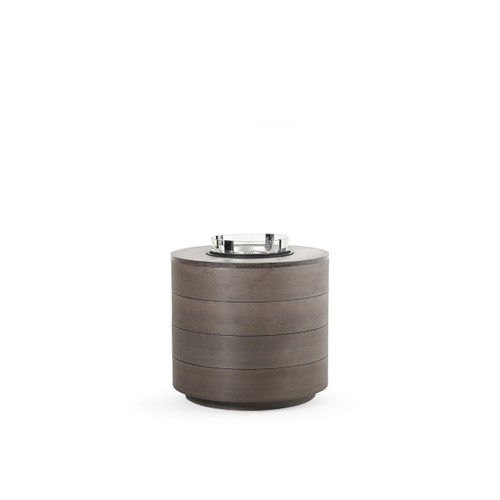 Maui Outdoor PoliSoul™ Round Fire Pit with Wind Guard in Vintage Walnut