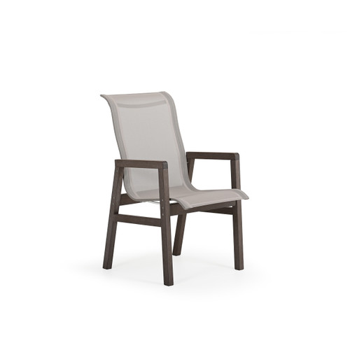 Maui Outdoor PoliSoul™ Sling Dining Arm Chair in Vintage Walnut