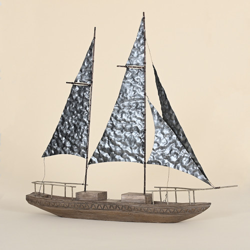 Wooden Sailboat with Metal Sails