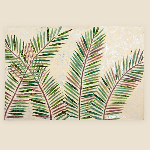 Mosaic Palm Leaves on Wood Wall Hanging, Green & Cream